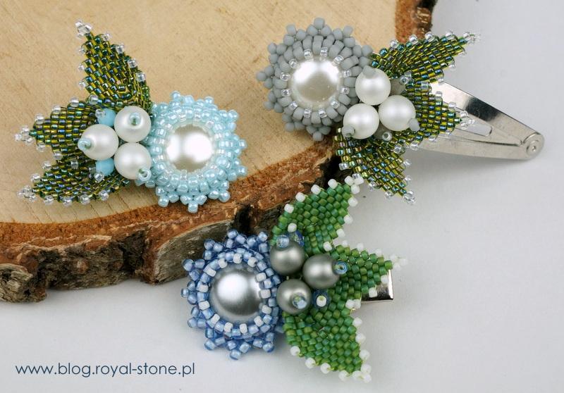 Spinki z koralikowymi kwiatkami i listkami - tutorial-royal-stone.