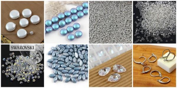 Materiały potrzebne do uszycia kolczyków z perłami i kryształkami Swatowski