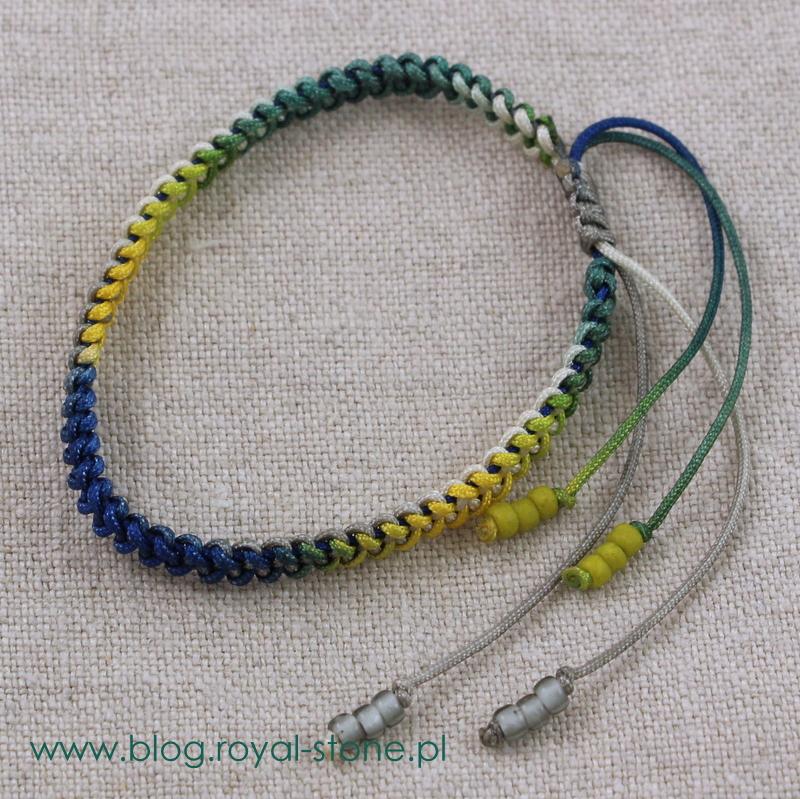Bransoletka z kolorowych sznurków pleciona zygzakowym ściegiem makramowym - tutorial royal-stone.pl