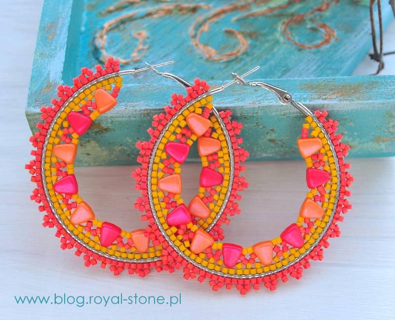 Kolczyki Tropical coctail wykonane na bazach kołach z koralikami Nib-Bit i Miyuki Delica, tutorial royal-stone.pl.