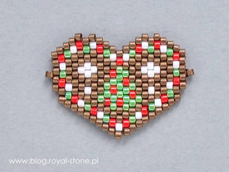 Piernikowe serce z koralików - łącznik do bransoletki z przesuwnym zapięciem, tutorial royal-stone