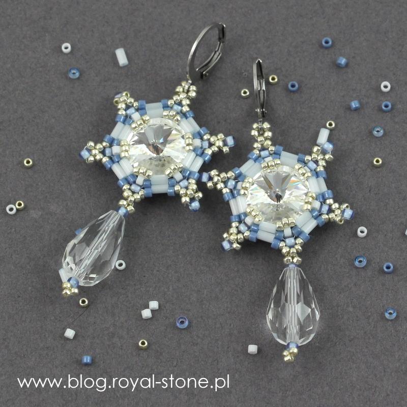 Gotowe kolczyki - gwiazdki z kryształkami i koralikami Toho i Miyuki, tutorial.