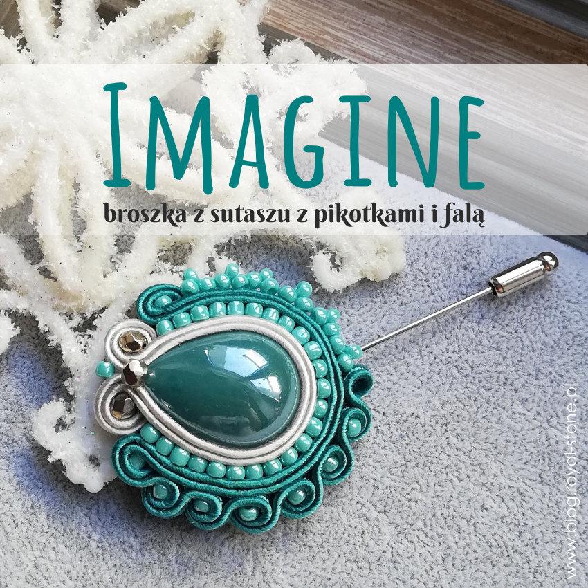 Imagine – sutaszowa broszka z pikotkami i falą